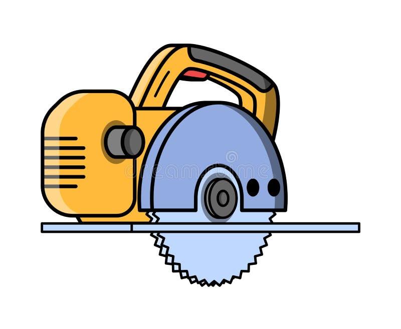 A circular viu a ferramenta elétrica da construção ilustração royalty free