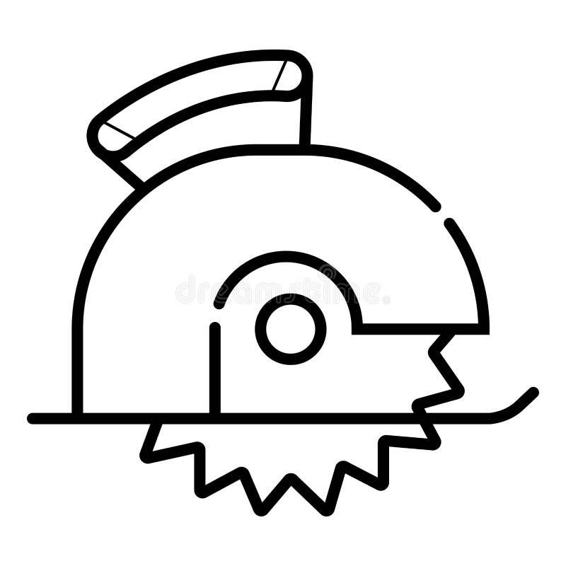 A circular viu o corte do ícone linear da prancha de madeira ilustração do vetor