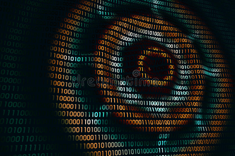 Circular waves on abstract digital wall in cyberspace, binary technology background stock illustration