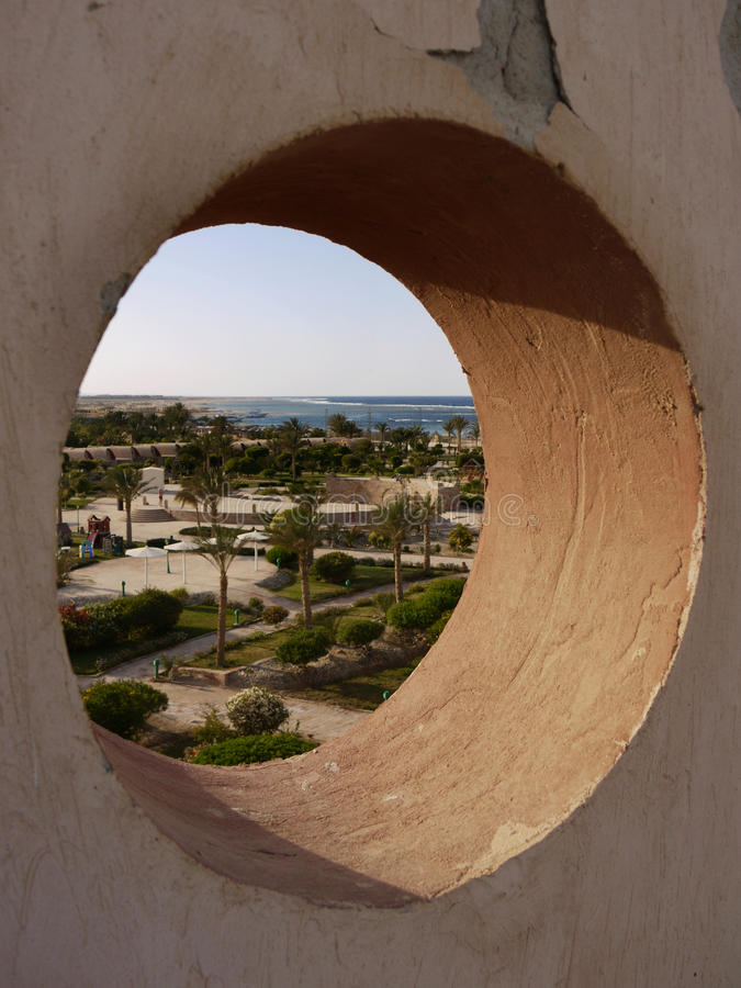 Circular window. View a circular window on the Red Sea in Egypt royalty free stock photos
