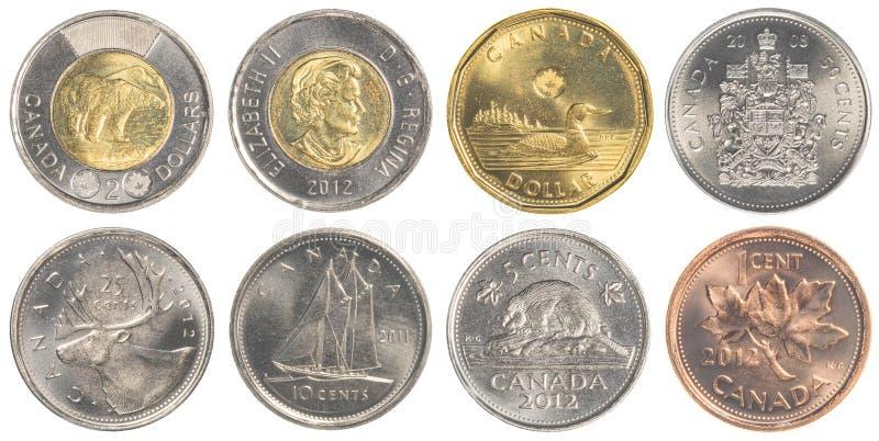 Circulating Canadian Dollar coins. TORONTO, CANADA - APRIL 19, 2015: circulating Canadian Dollar coins royalty free stock photos