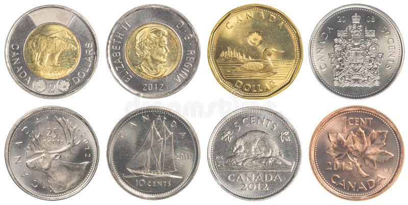 Circulating Canadian Dollar coins royalty free stock photos