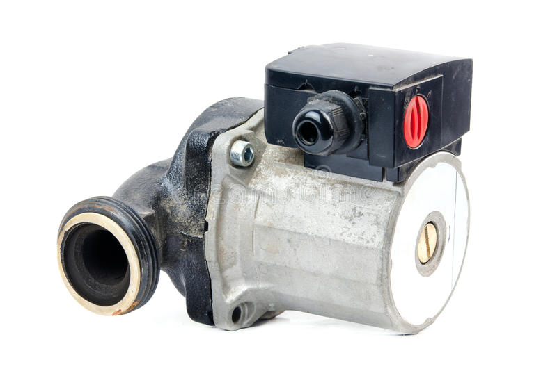 Circulating pump. A circulating pump for water heating systems, isolated royalty free stock images