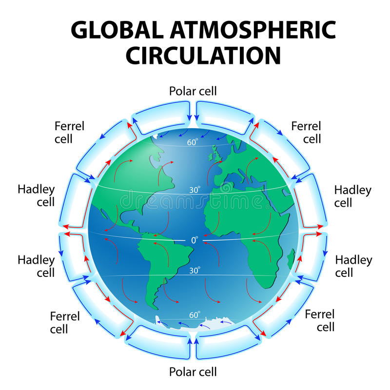 Circulation of Atmosphere. Global circulation patterns or Hadley-Ferrel Model stock illustration