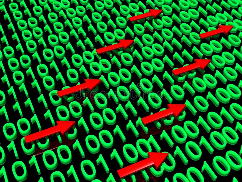 Circulation de données binaires illustration de vecteur
