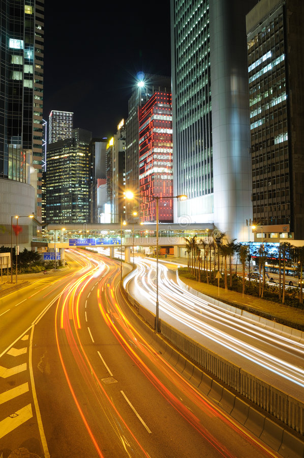 Circulation de nuit à Hong Kong photo libre de droits