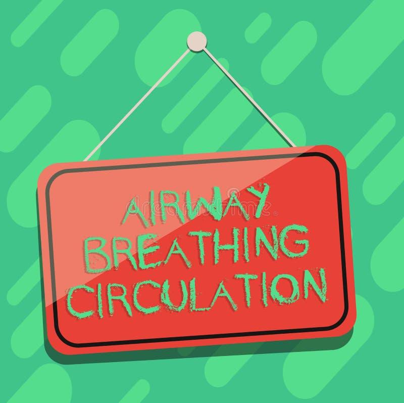 Circulation de respiration de main d'écriture de voie aérienne conceptuelle d'apparence Aide de présentation de mémoire de photo  illustration stock