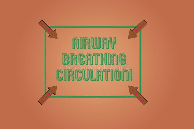 Circulation de respiration de voie aérienne d'écriture des textes d'écriture Aide de mémoire de signification de concept pour des illustration stock