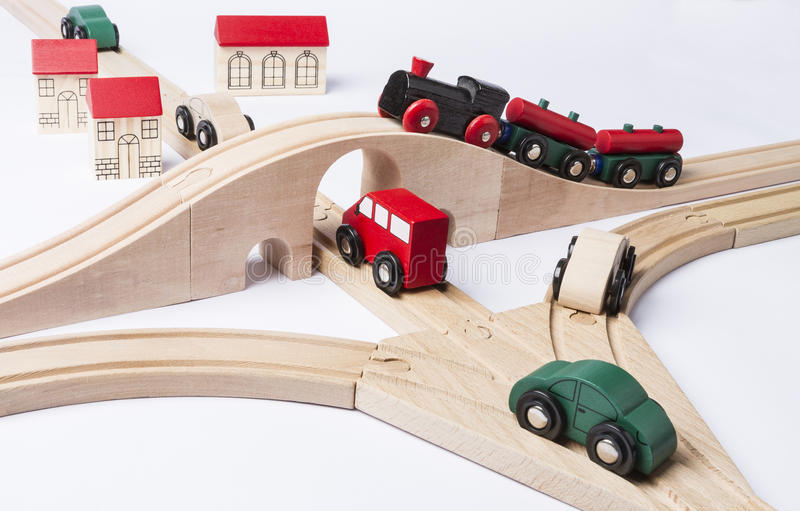 Circulation dense près de petite ville de jouet image stock