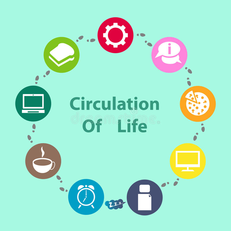 Circulation of Life. Info graphic Circulation of Life of one day of live working person stock illustration