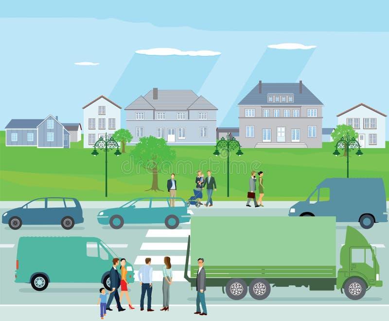 Circulation urbaine dans le voisinage résidentiel illustration de vecteur