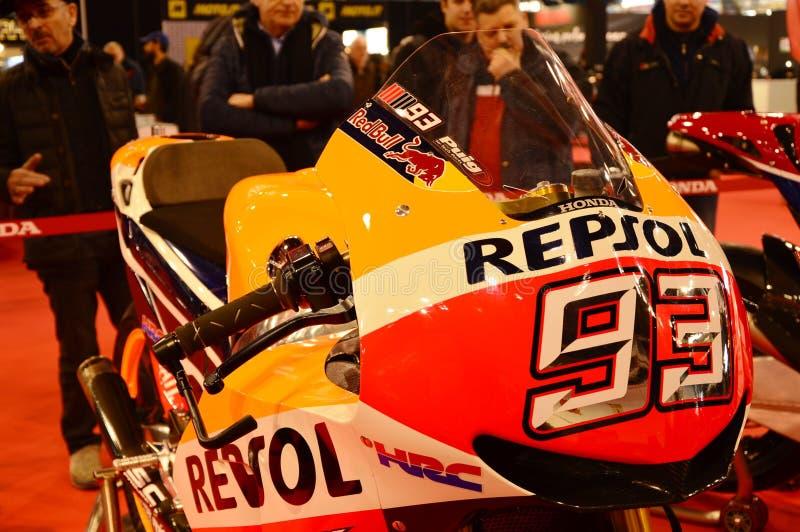 Circulez en voiture l'expo de vélo, Honda HRC Marc Marquez 93 images libres de droits