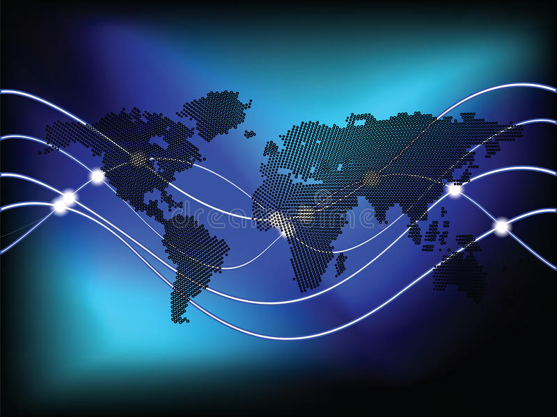 Circunda o fundo do mapa de mundo ilustração royalty free