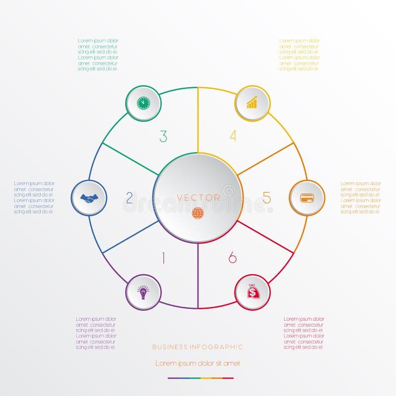 Circunda seis posições infographic ilustração do vetor