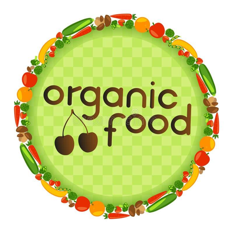 Circunde com os frutos, os vegetais, as bagas e os cogumelos Estilo de vida saudável ilustração royalty free