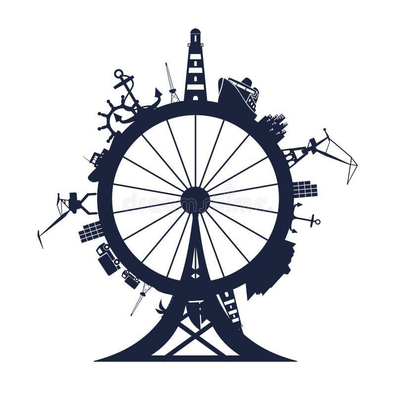 Circunde con el puerto del cargo y viaje las siluetas relativas ilustración del vector