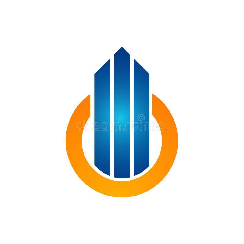 Circunde a cor alaranjada com a seta acima do molde do logotipo da construção ilustração do vetor