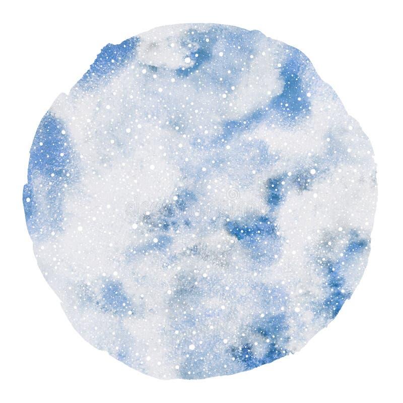 Circunde do céu nebuloso do inverno da forma o fundo redondo da aquarela ilustração stock