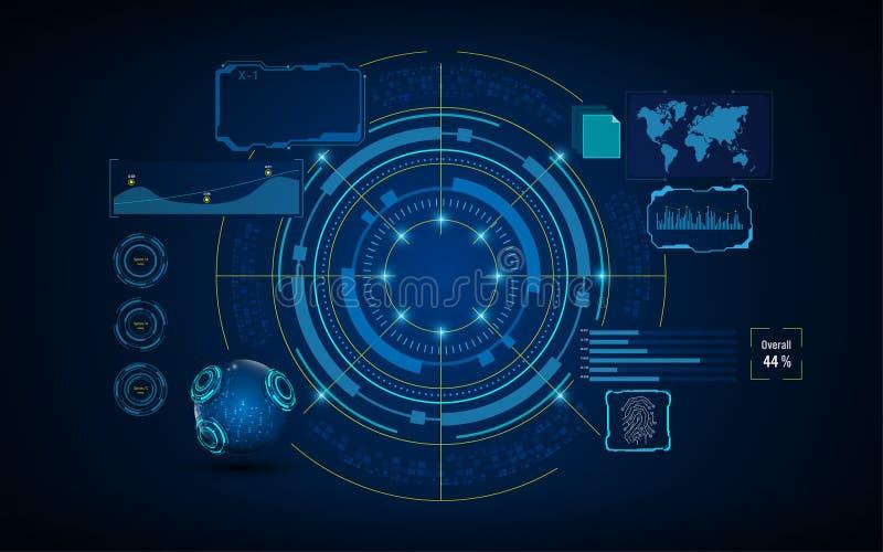 Circunde el concepto de diseño de pantalla del sistema virtual de los servicios de la inteligencia artificial de HUD GUI UI ilustración del vector