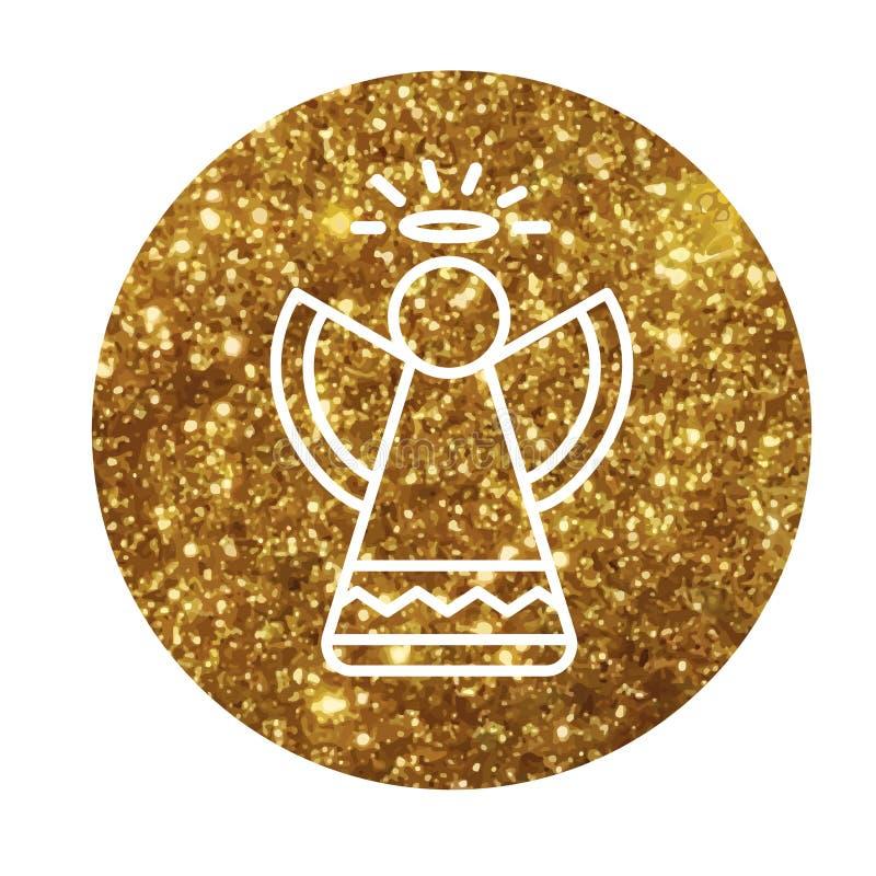 Circunde el icono plano del brillo del vector del ángel de oro de la Navidad ilustración del vector