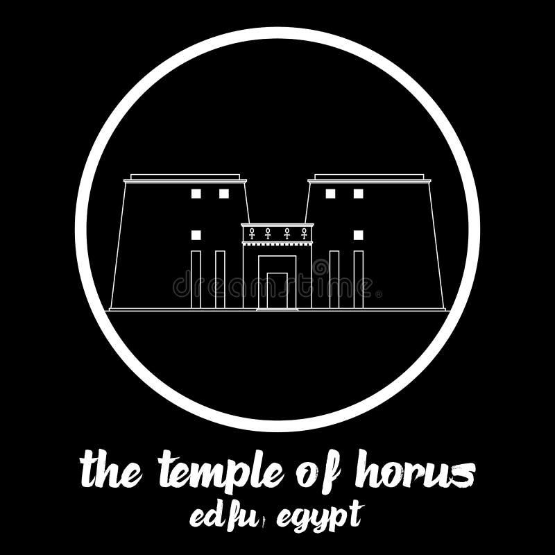 Circunde el icono el templo de Horus Ilustraci?n del vector stock de ilustración