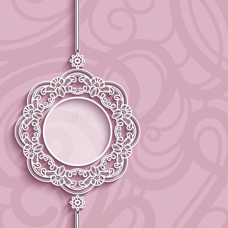 Circunde el marco, colgante del cordón en fondo rosado ilustración del vector
