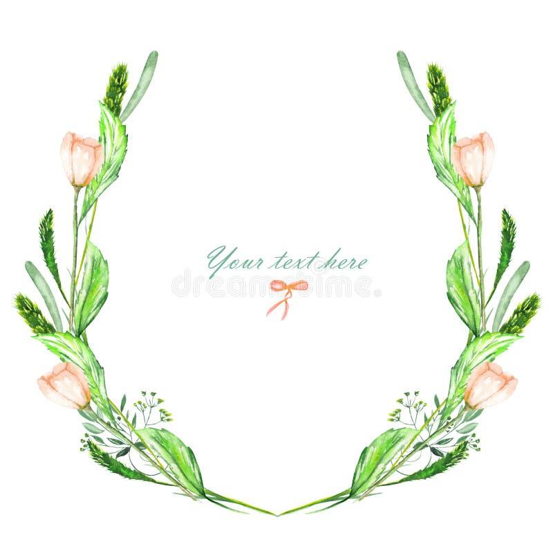 Circunde el marco, la guirnalda de las flores del rosa de la acuarela, los puntos y las hojas del verde libre illustration