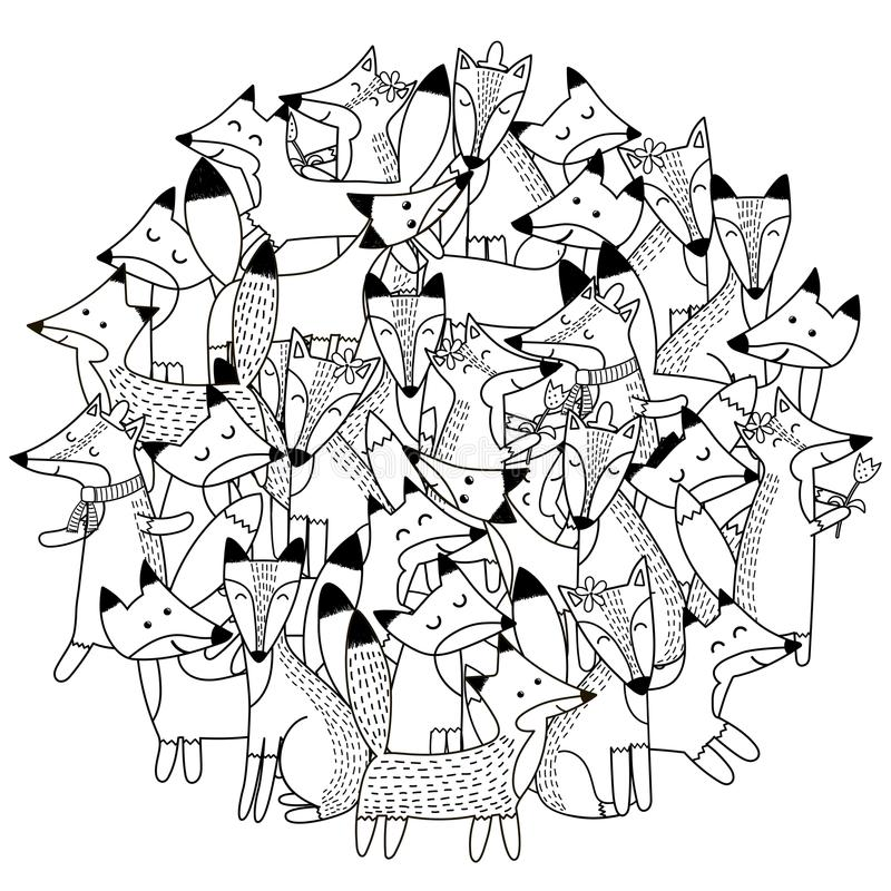 Circunde el modelo de la forma con los zorros lindos para el libro de colorear libre illustration