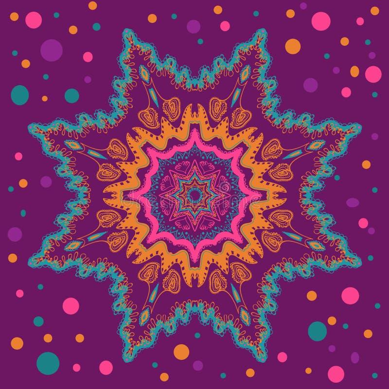 Circunde el ornamento del cordón, tapetito geométrico ornamental redondo stock de ilustración