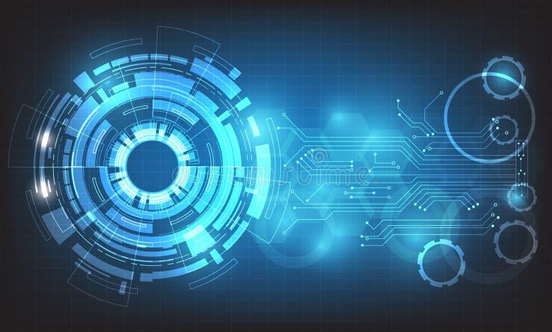 Circunde el vector abstracto de alta tecnología del fondo, negocio digital con los diversos elementos tecnológicos ilustración del vector