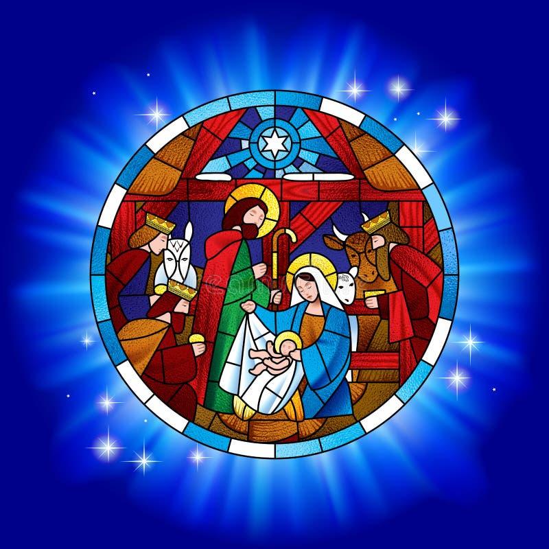 Circunde el vitral con la Navidad y la adoración de unos de los reyes magos ilustración del vector