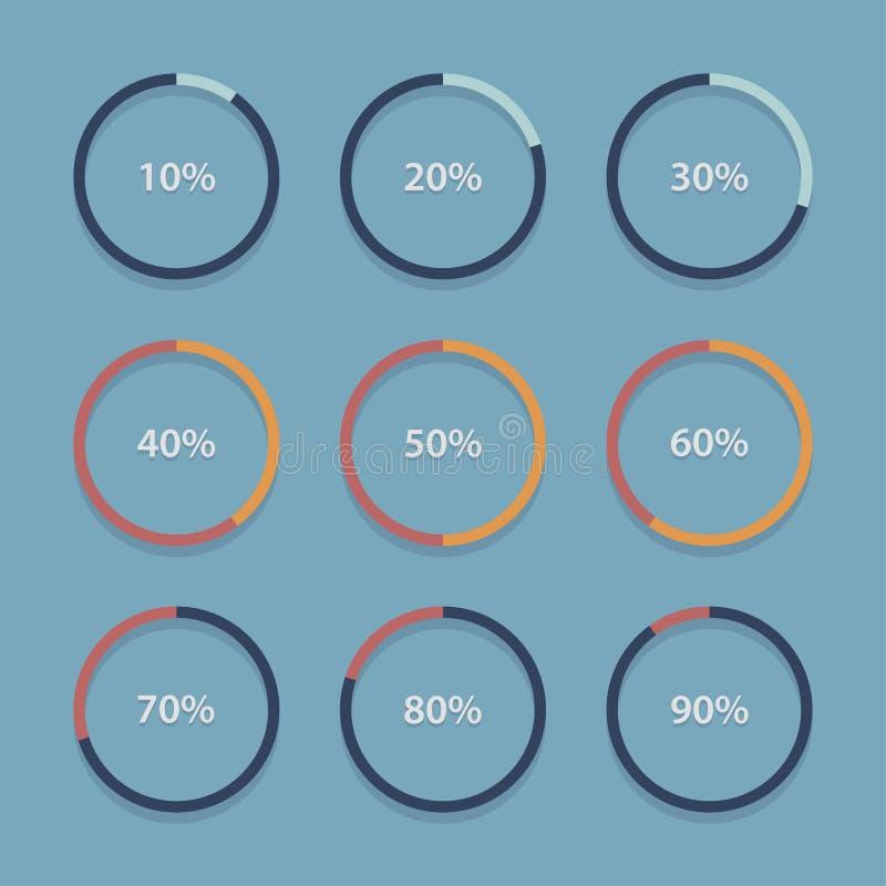 Circunde la carta, gráfico, colección infographic de las plantillas del porcentaje ilustración del vector