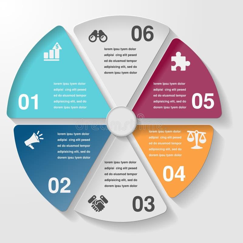 Circunde la carta infographic del diagrama de la plantilla, pasos de las piezas del negocio ilustración del vector