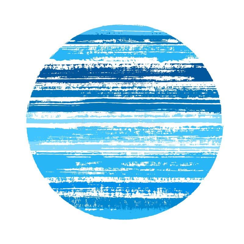 Circunde la forma geométrica de rayas horizontales con el textire de la pintura Elemento del vector del logotipo libre illustration