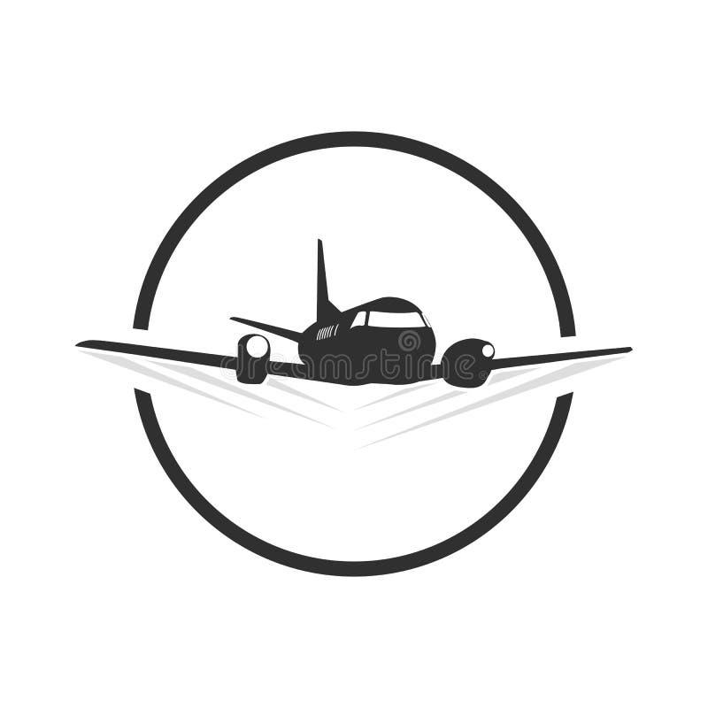 Circunde la plantilla plana del logotipo del viaje en blacn y blanco stock de ilustración