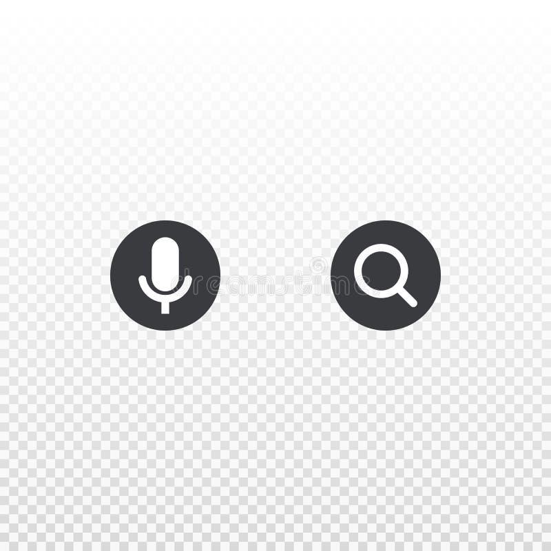 Circunde o ícone do microfone e da lente de aumento isolado no fundo transparente Elemento para a busca do projeto, app, bate-pap ilustração royalty free