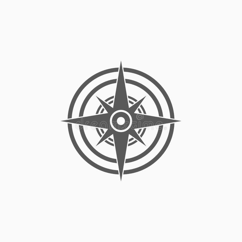 Circunde o ícone, sentido, navegação, mapa ilustração royalty free