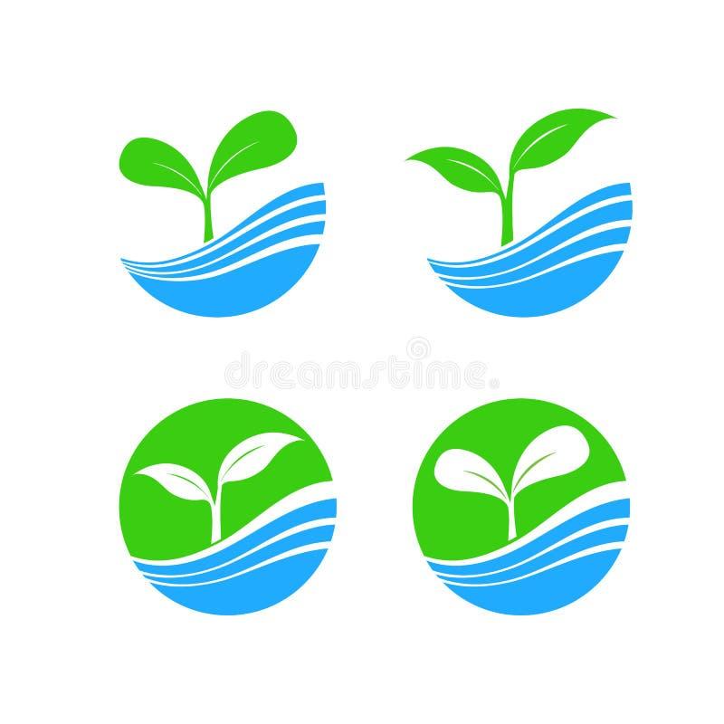 Circunde o elemento do logotipo da forma com o conceito da planta e da água da natureza, h ilustração royalty free