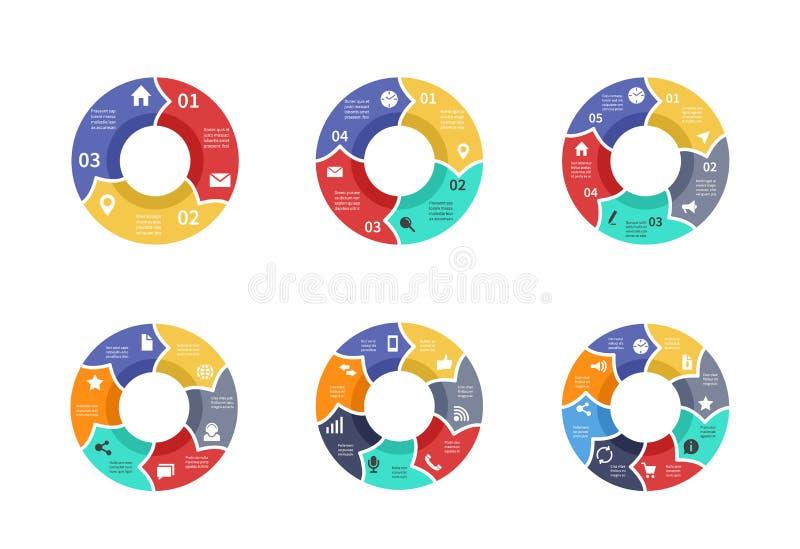 Circunde o gráfico, diagramas de torta, cartas redondas com ícones, opções, peças, etapas, grupo do vetor dos setores do processo ilustração royalty free