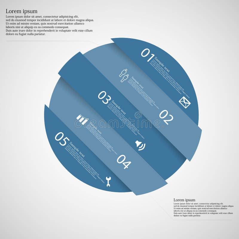 Circunde o motivo dividido obliquamente a cinco porções azuis na luz ilustração stock