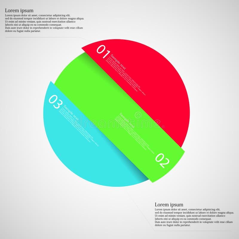 Circunde o motivo dividido obliquamente a três peças da cor na luz ilustração royalty free