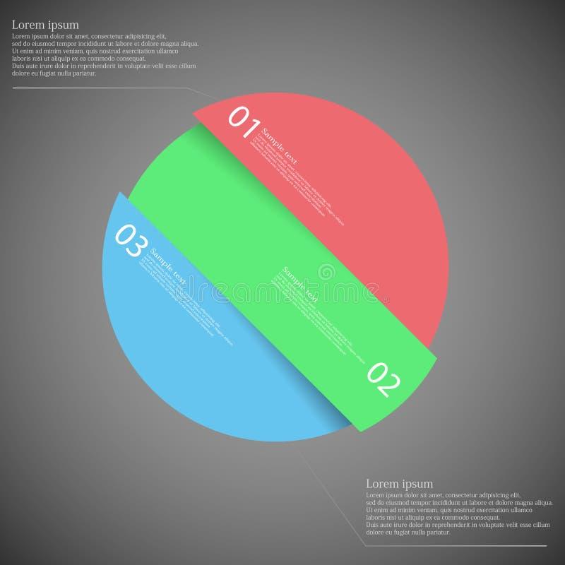 Circunde o motivo dividido obliquamente a três peças da cor na obscuridade ilustração do vetor