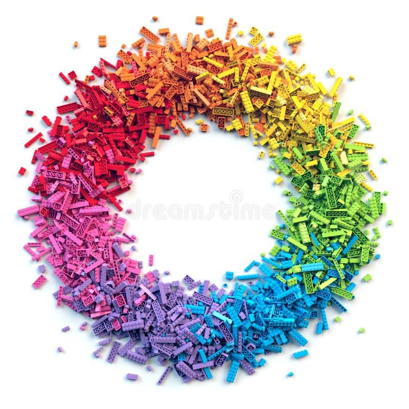 Circunde o quadro dos tijolos coloridos do brinquedo isolados no fundo branco ilustração do vetor