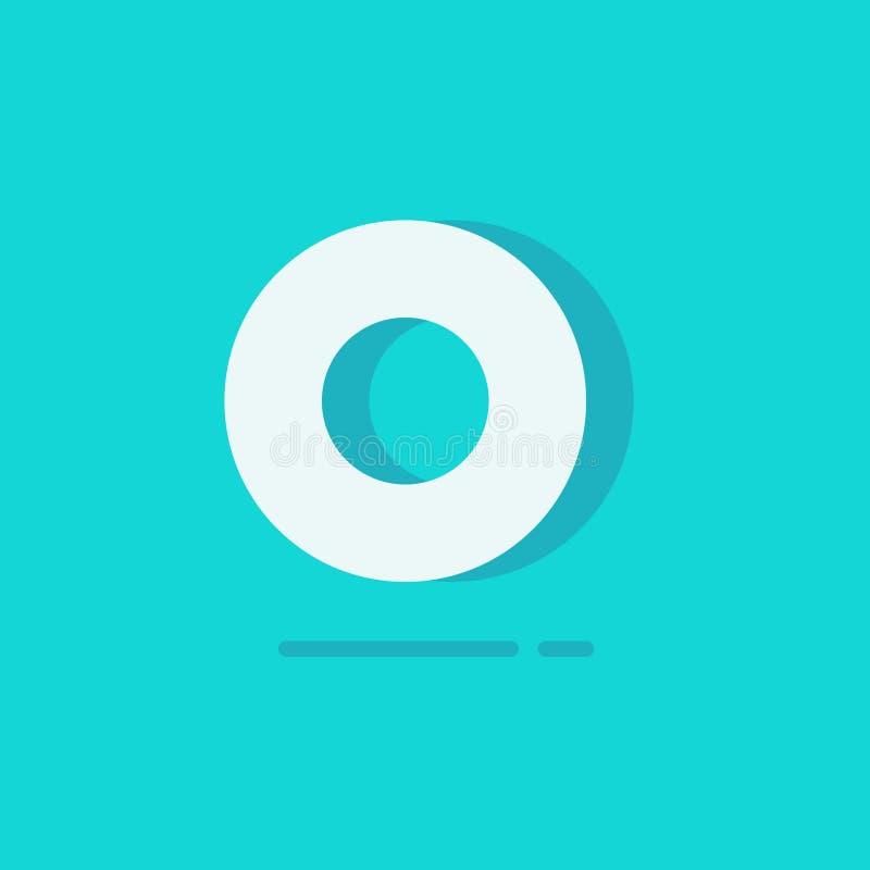 Circunde o vetor do logotipo, logotype redondo branco dos desenhos animados lisos isolado no fundo azul, conceito de minimalistic ilustração stock