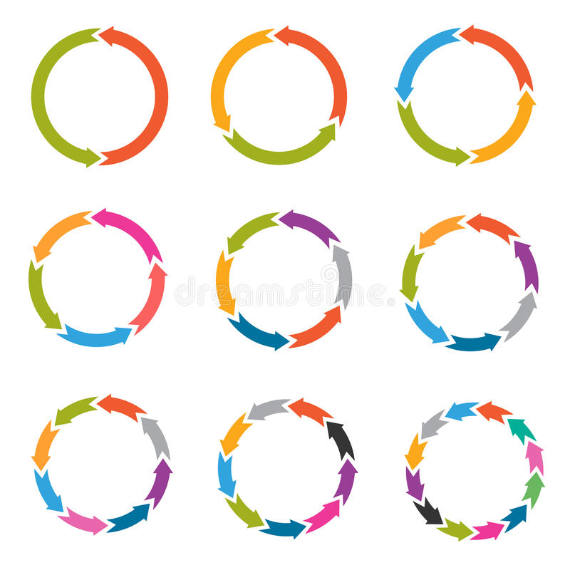 Circunde setas com as opções, peças, ícones do vetor das etapas ilustração do vetor