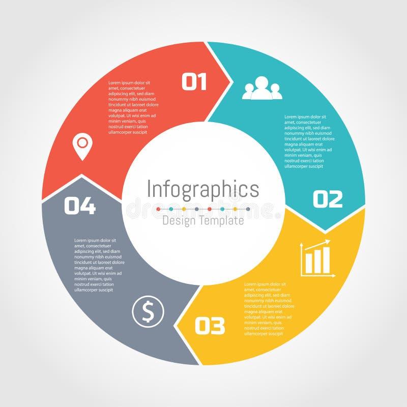 Circunde setas do molde infographic para o diagrama de ciclagem ilustração stock