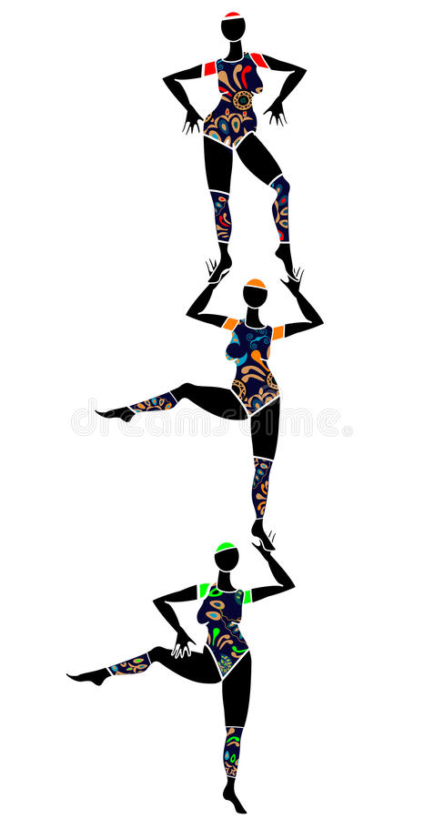 Circus. Women in beautiful costumes perform circus on a white background vector illustration