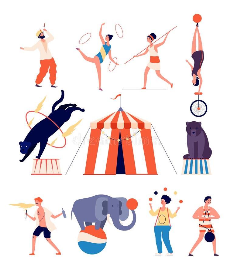 Circus-acteurs Kast en goochelaar, jongleur en stabilisator, strongman en gymnast, panther en beer Circus toon vector royalty-vrije illustratie