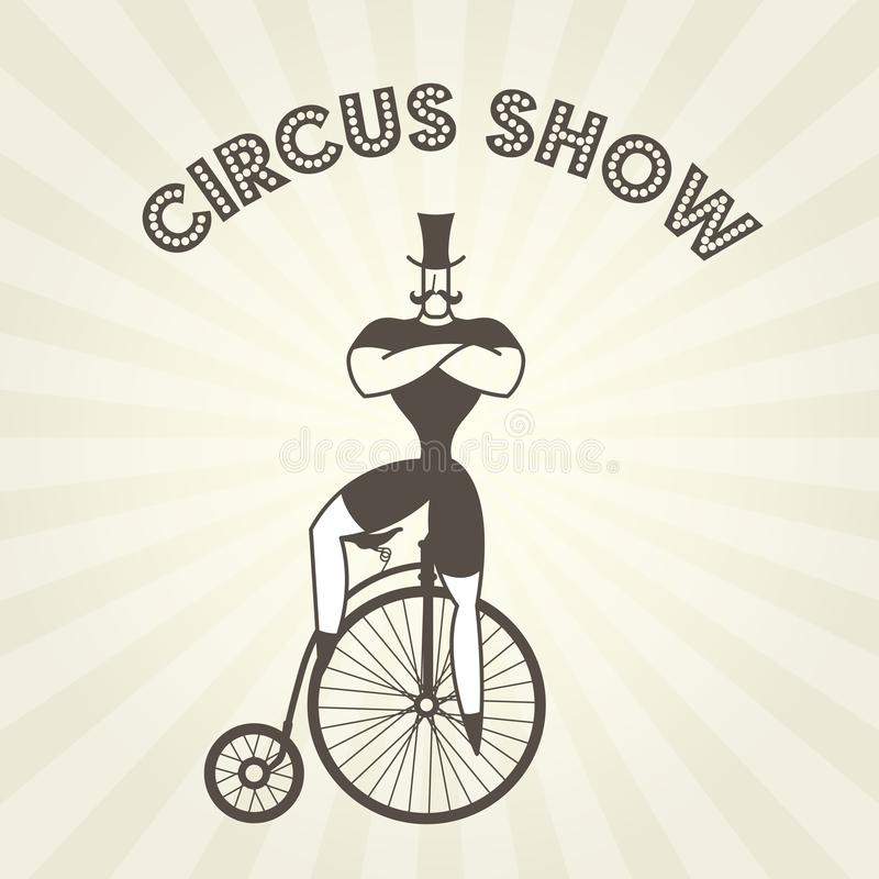 Circus actor on retro bicycle - strongman on old penny farthing stock illustration
