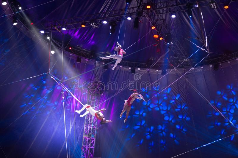 Circus team performance on stage, zirkus royalty free stock image